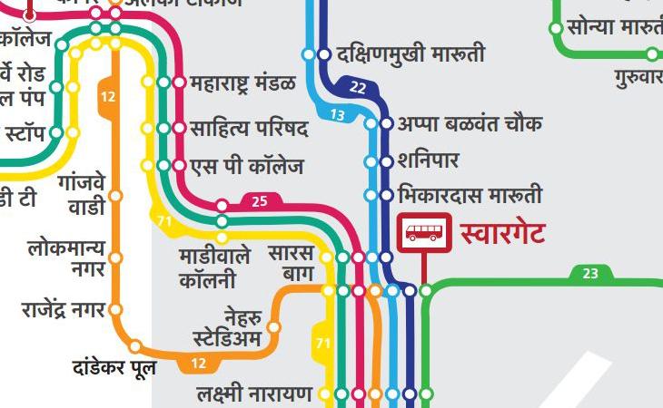 Newly designed Pune Bus Map