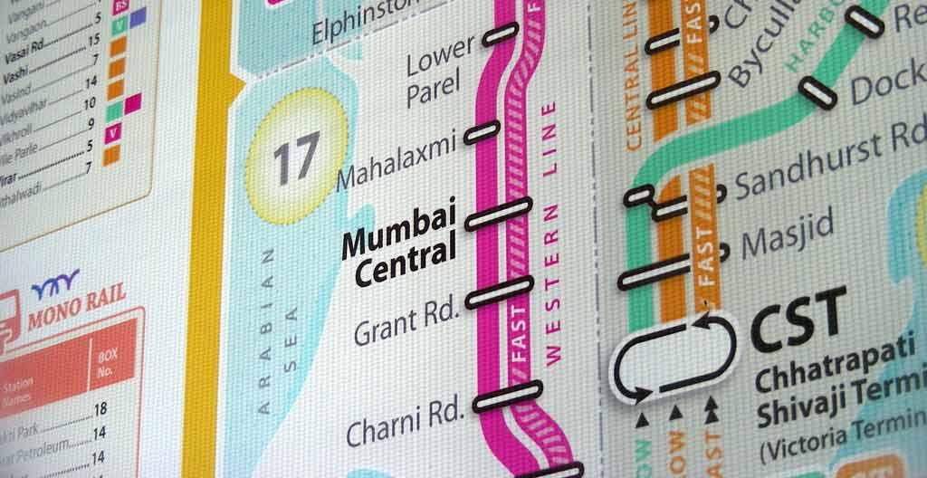 Mumbai Local Railmap backlit