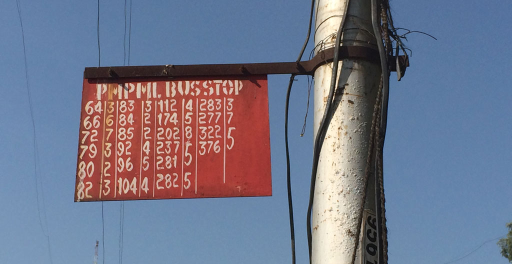 Pune Bus Stop Plate Photo