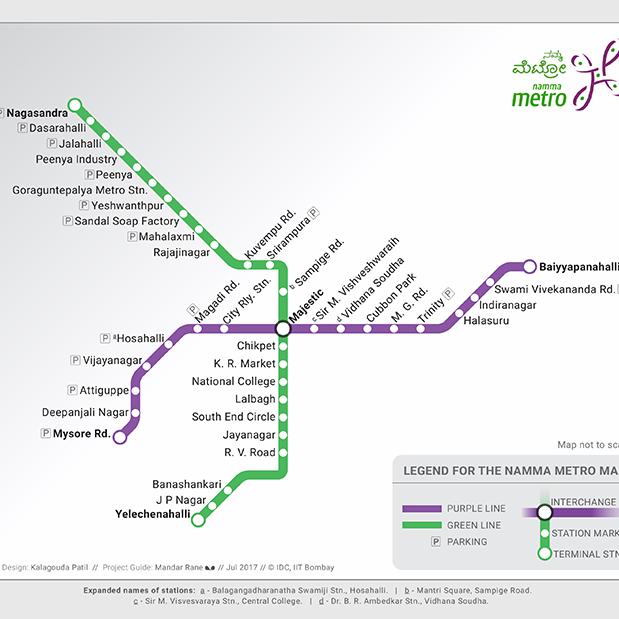 Namma Metro Map, visual design by Kalagouda Patil, July 2017, Industrial Design Centre, IIT Bombay