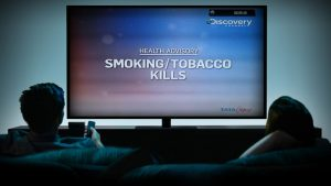 Television image with smoking health advisory