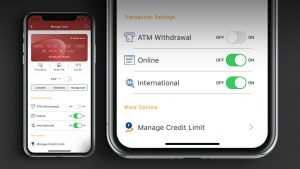 ICICI Bank Mobile App interface for Credit Card with toggle buttons
