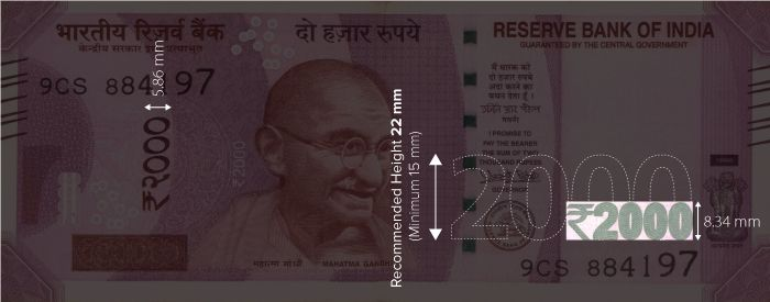 Figure 3 Scaling the largest denomination numeral for INR 2000 (8.34mm height) to the recommended size of 22 mm without the rupee symbol